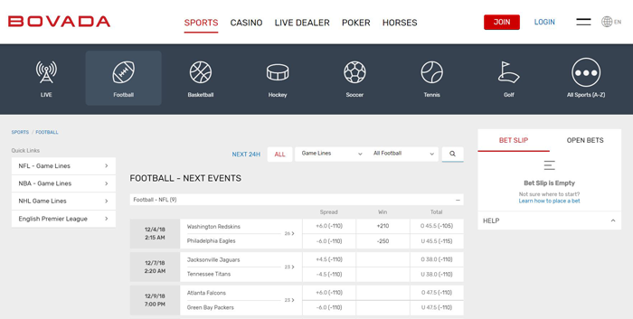 bovada sportsbook screen